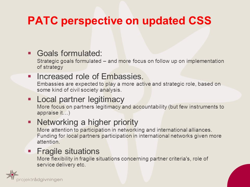 PATC perspective on updated CSS