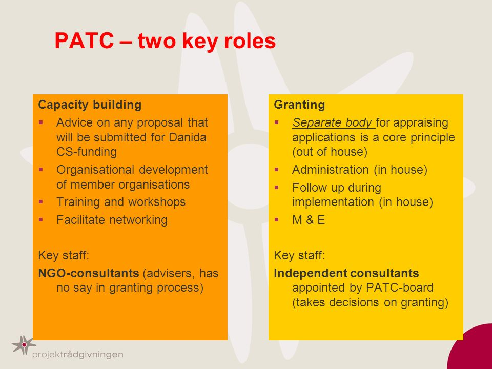 PATC – two key roles Capacity building