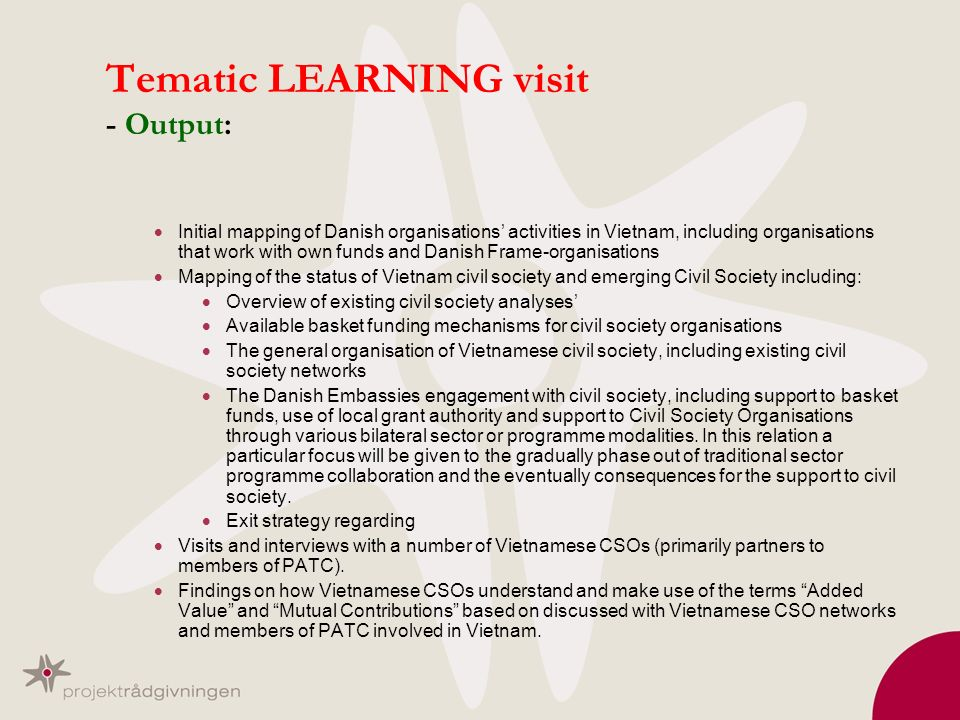 Tematic LEARNING visit - Output: