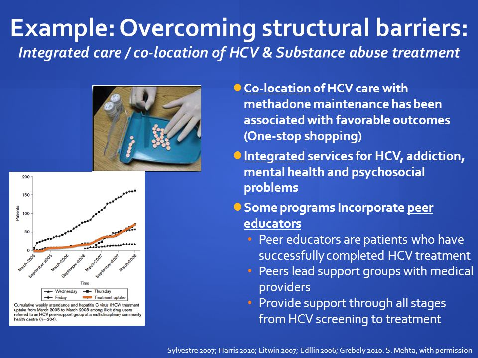 Example: Overcoming structural barriers: Integrated care / co-location of HCV & Substance abuse treatment