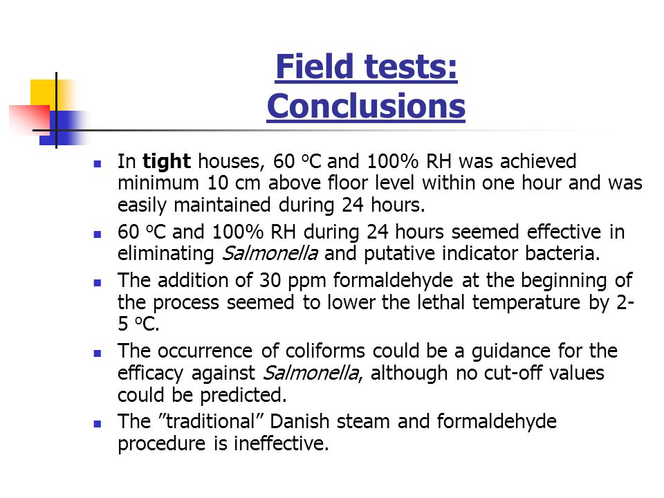 Field tests: Conclusions