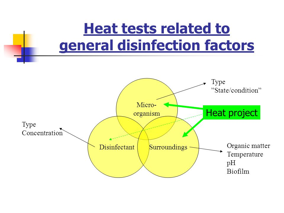 Heat tests related to general disinfection factors
