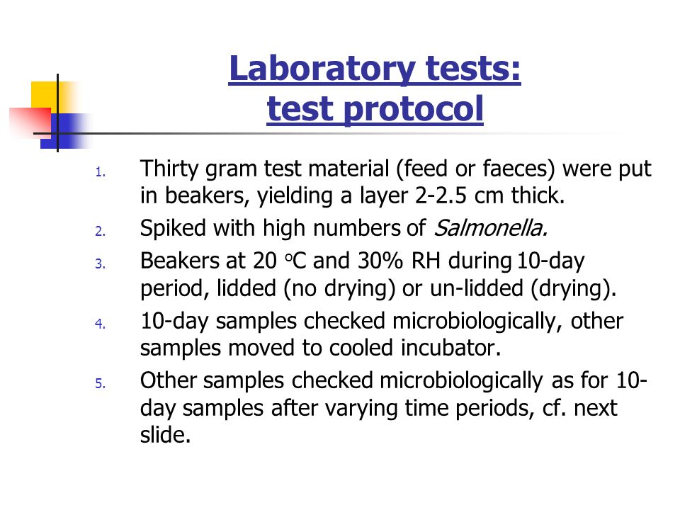 Laboratory tests: test protocol
