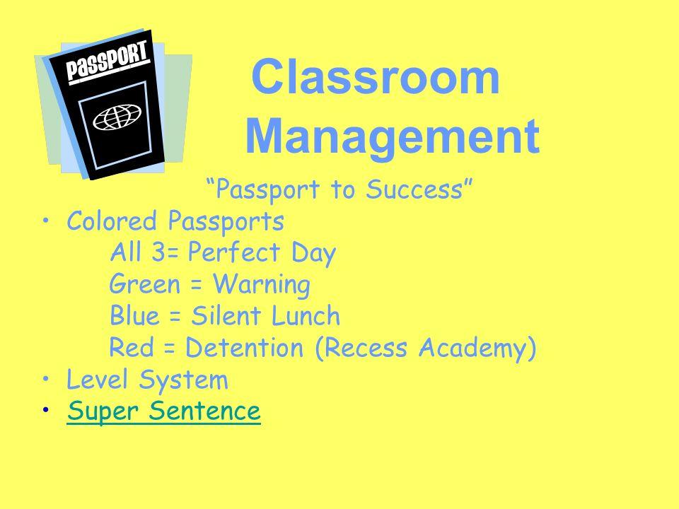 Classroom Management Passport to Success Colored Passports