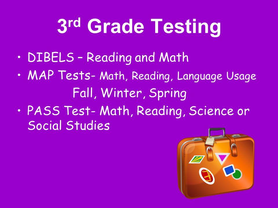 3rd Grade Testing DIBELS – Reading and Math