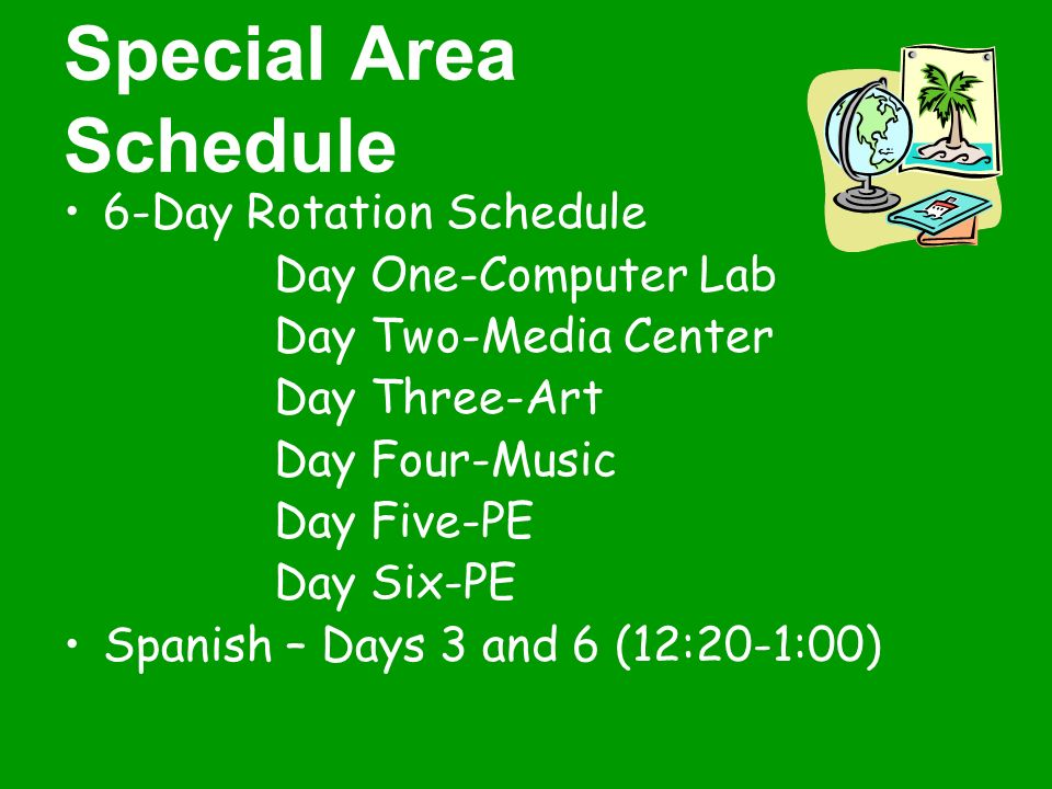 Special Area Schedule 6-Day Rotation Schedule Day One-Computer Lab