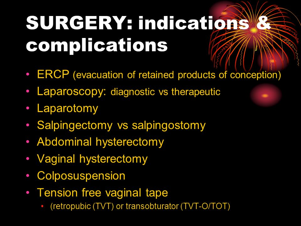 SURGERY: indications & complications