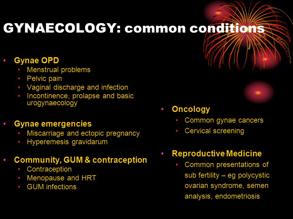 GYNAECOLOGY: common conditions
