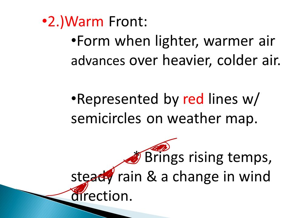 2.)Warm Front: Form when lighter, warmer air advances over heavier, colder air. Represented by red lines w/ semicircles on weather map.