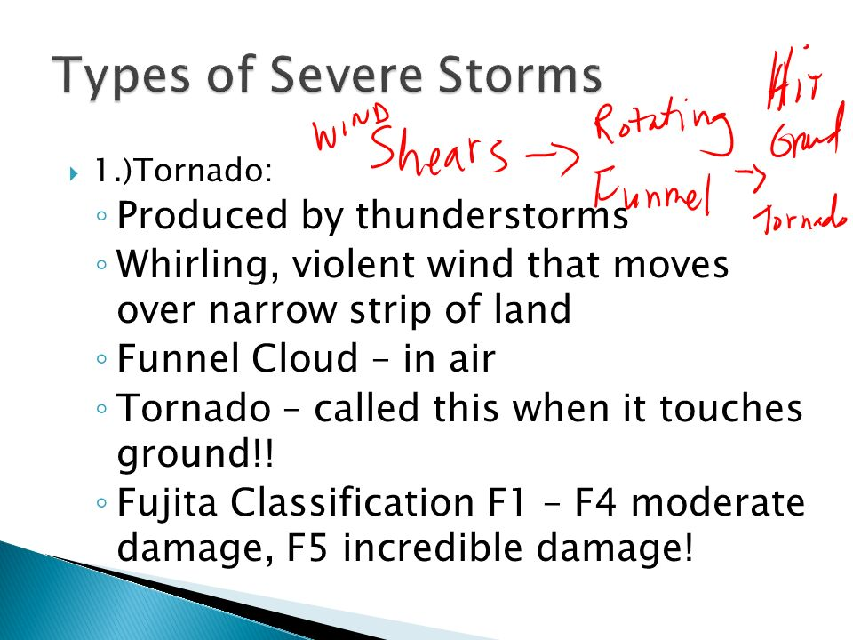 Types of Severe Storms Produced by thunderstorms
