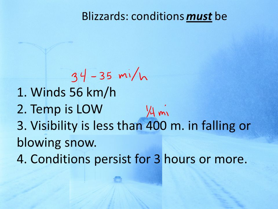 Blizzards: conditions must be
