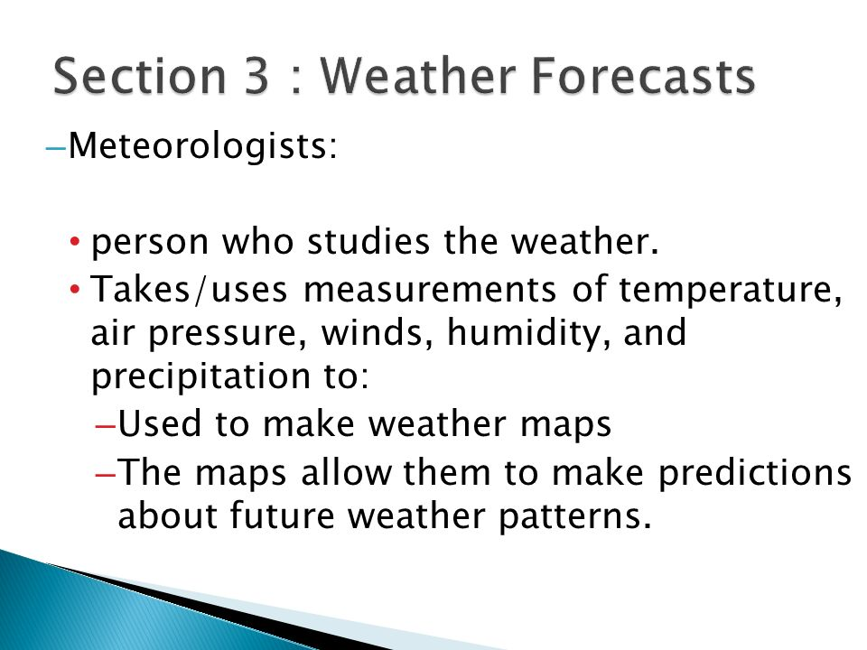 Section 3 : Weather Forecasts