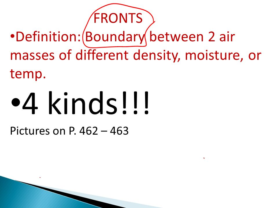 4 kinds!!! Pictures on P. 462 – 463 FRONTS