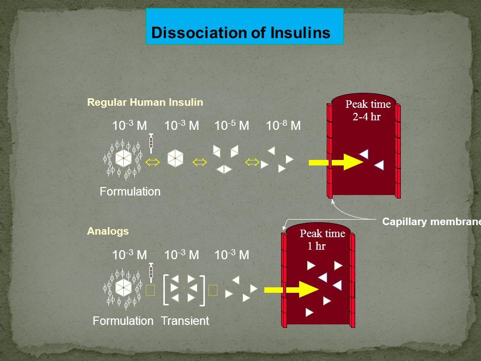 Û Û Dissociation of Insulins Û Û Û 10-3 M 10-3 M 10-5 M 10-8 M 10-3 M