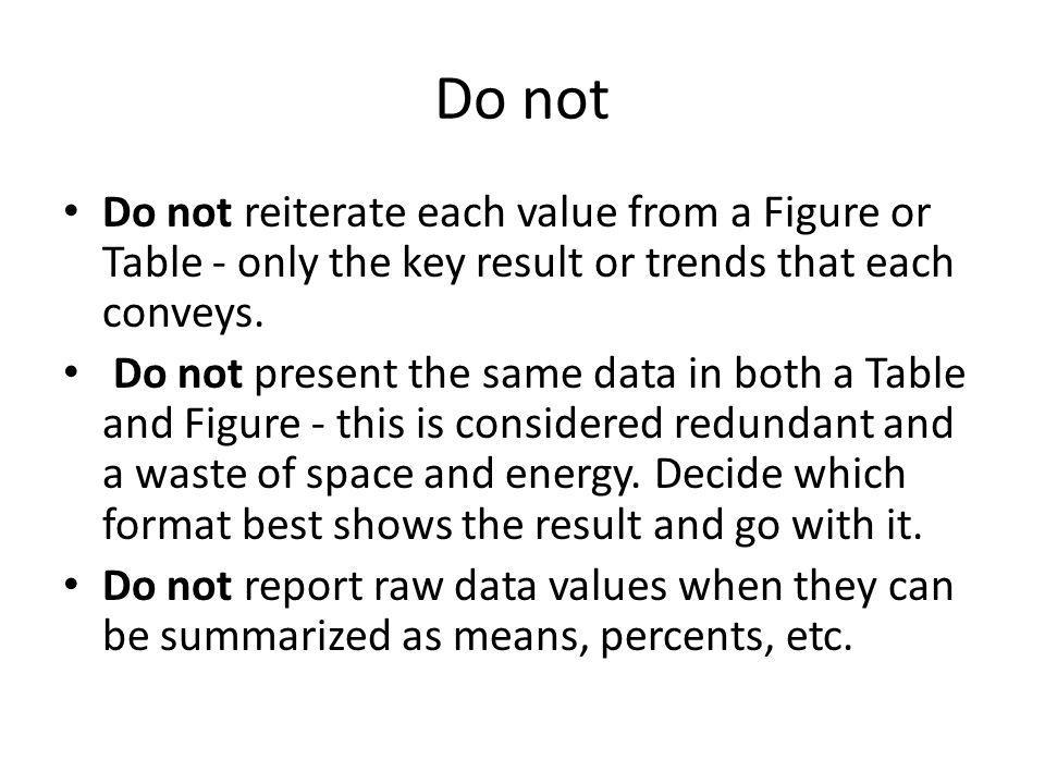 Do not Do not reiterate each value from a Figure or Table - only the key result or trends that each conveys.