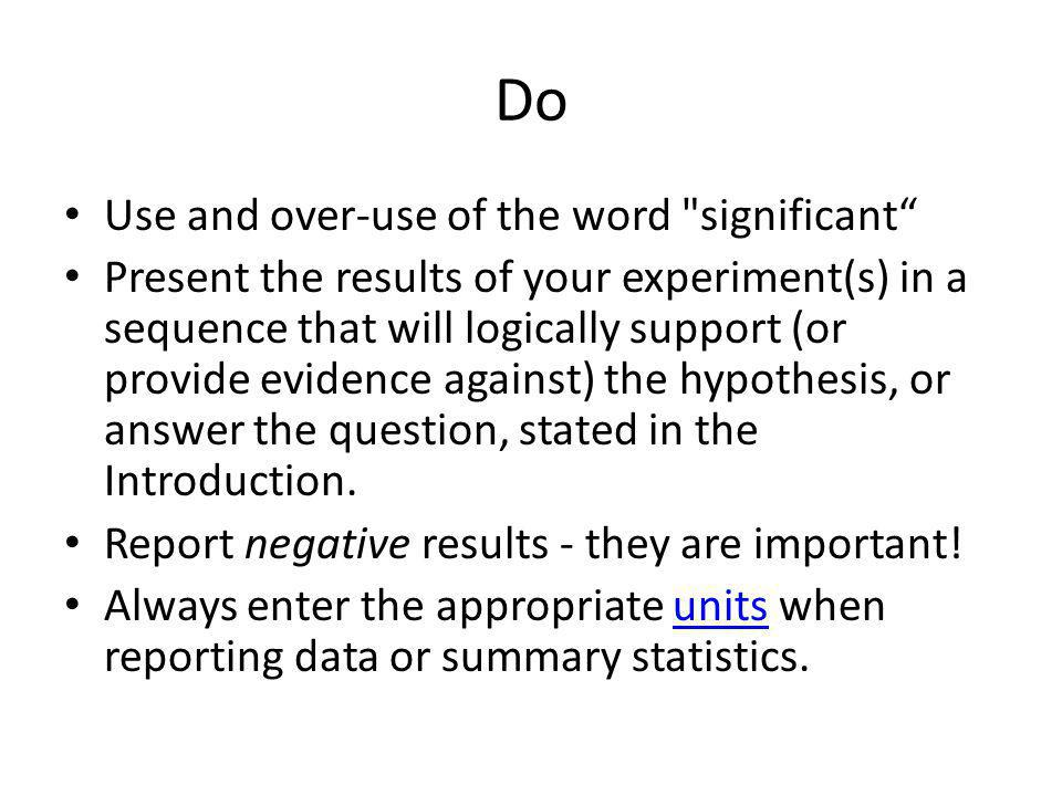 Do Use and over-use of the word significant