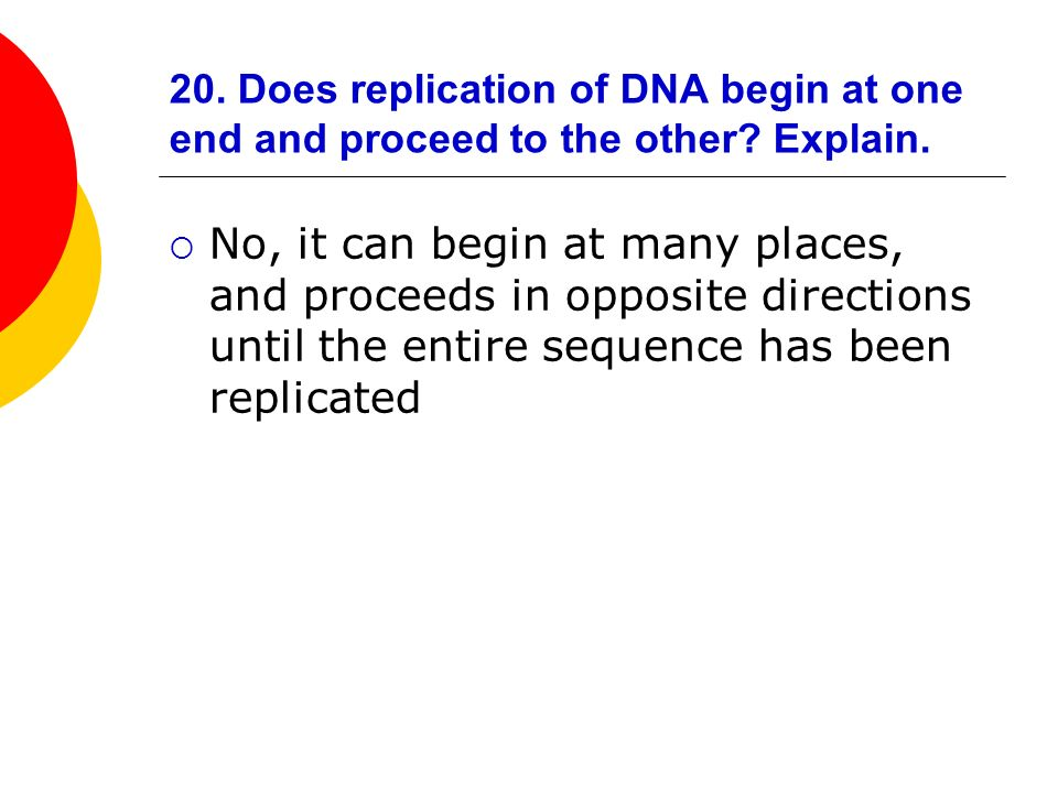 20. Does replication of DNA begin at one end and proceed to the other