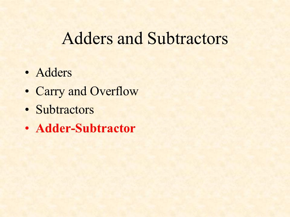 Adders and Subtractors