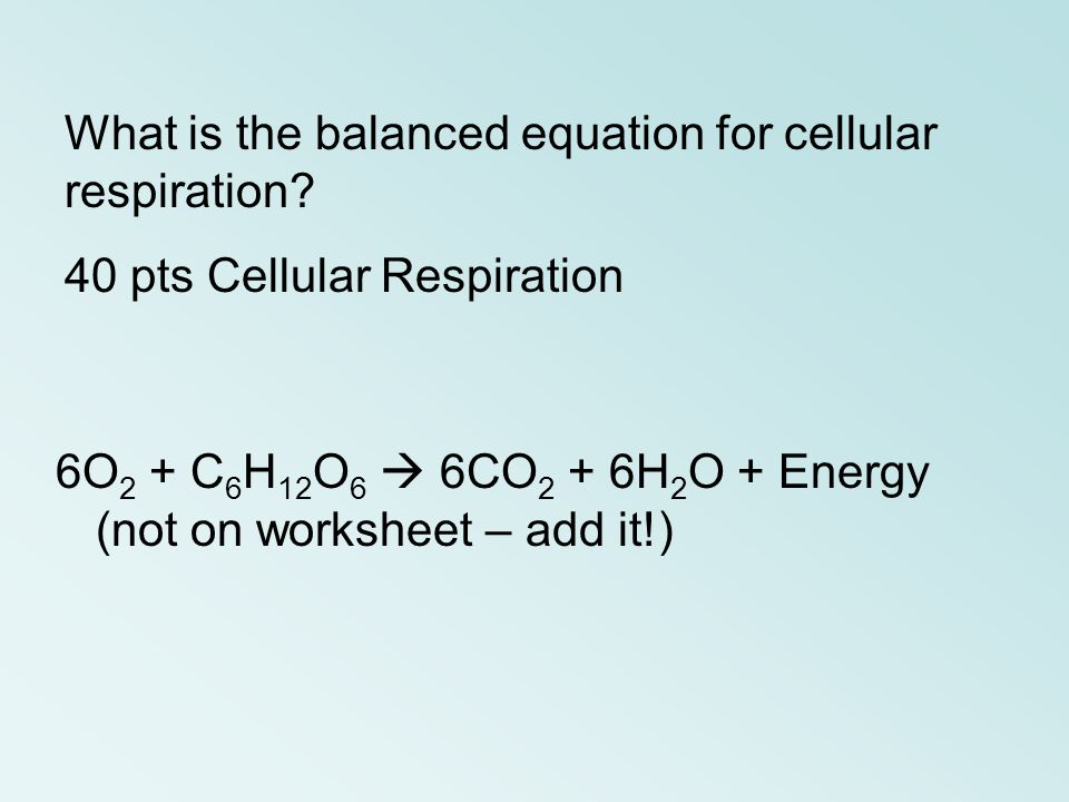 What is the balanced equation for cellular respiration