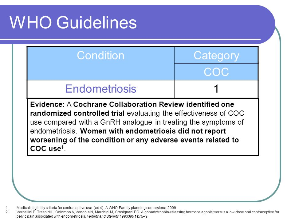 WHO Guidelines Condition Category COC Endometriosis 1