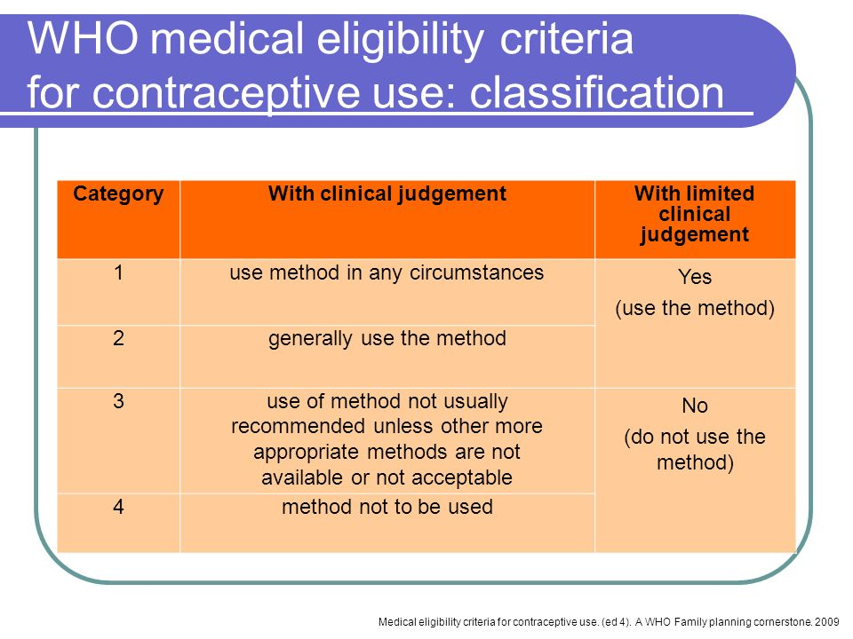 WHO medical eligibility criteria for contraceptive use: classification