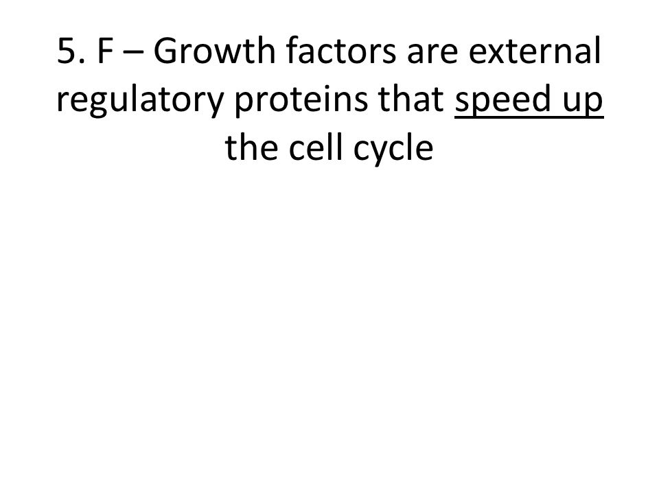 5. F – Growth factors are external regulatory proteins that speed up the cell cycle