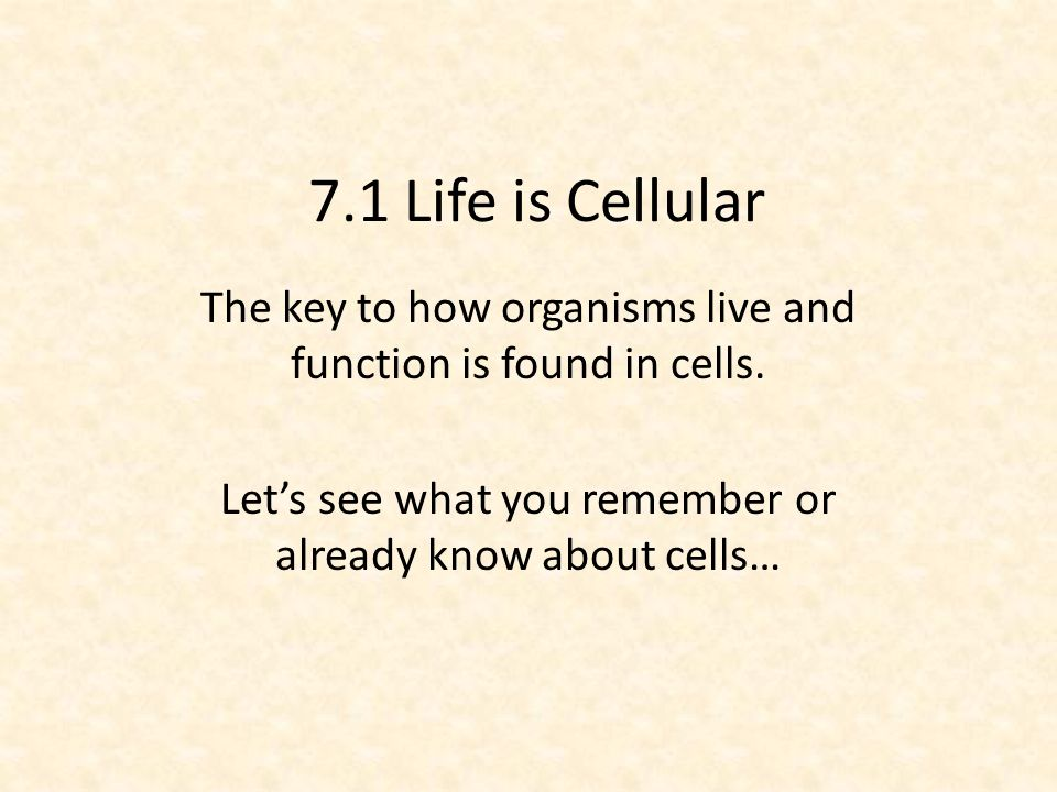 7.1 Life is Cellular The key to how organisms live and function is found in cells.