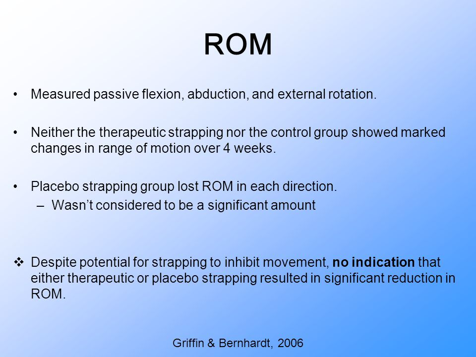 ROM Measured passive flexion, abduction, and external rotation.