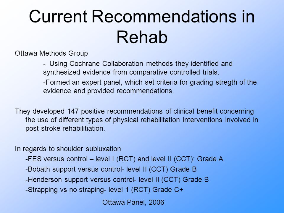 Current Recommendations in Rehab