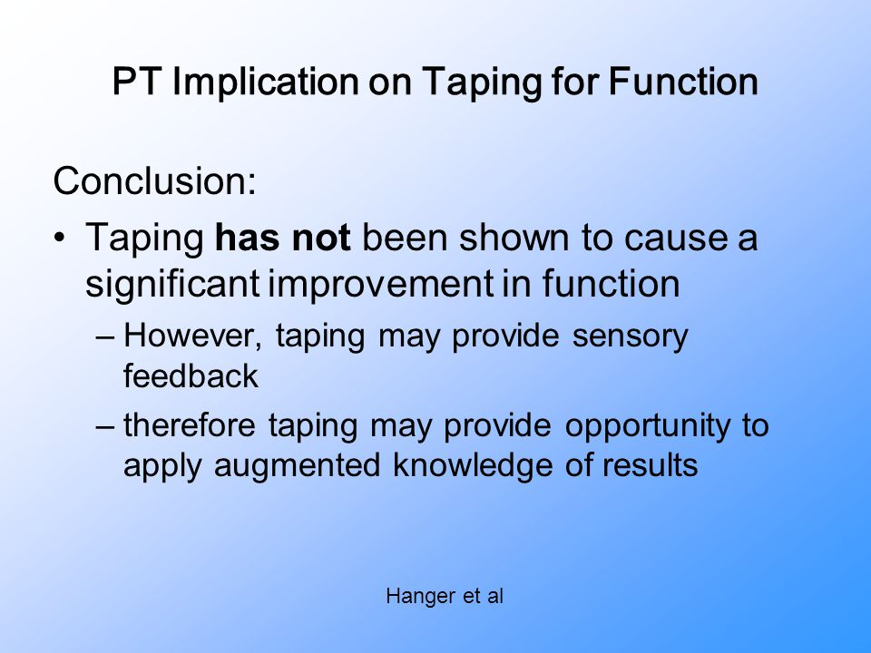PT Implication on Taping for Function