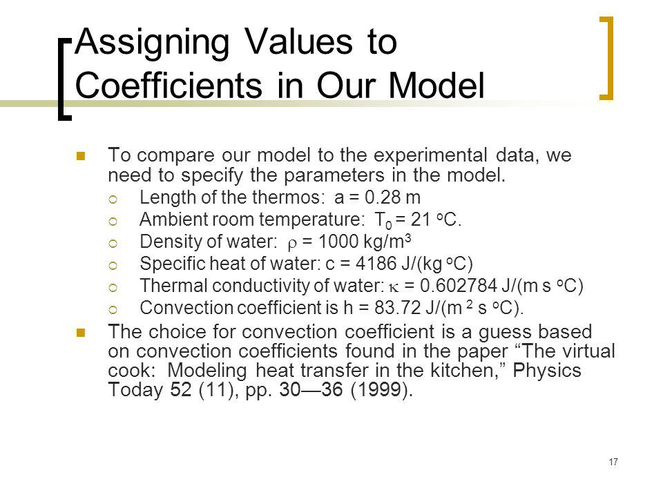 Assigning Values to Coefficients in Our Model