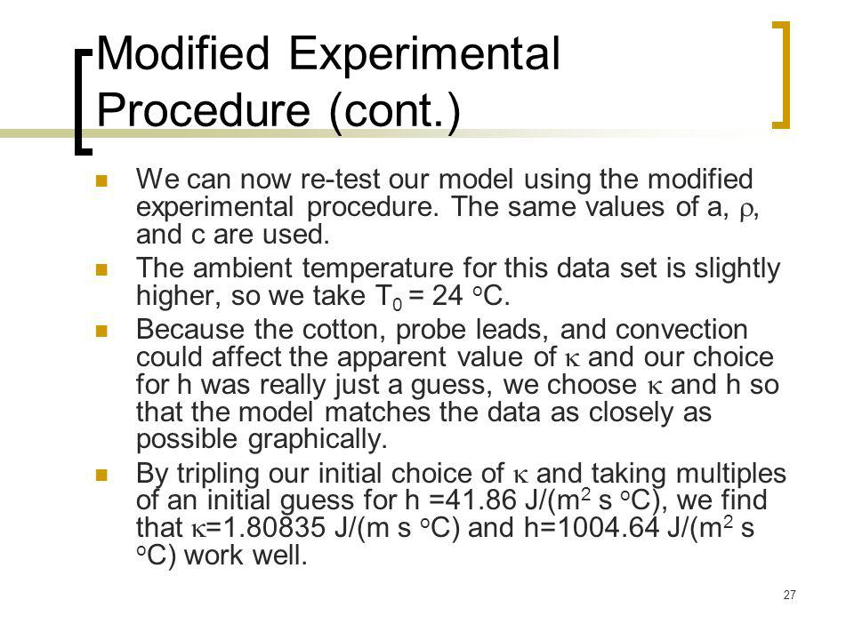 Modified Experimental Procedure (cont.)