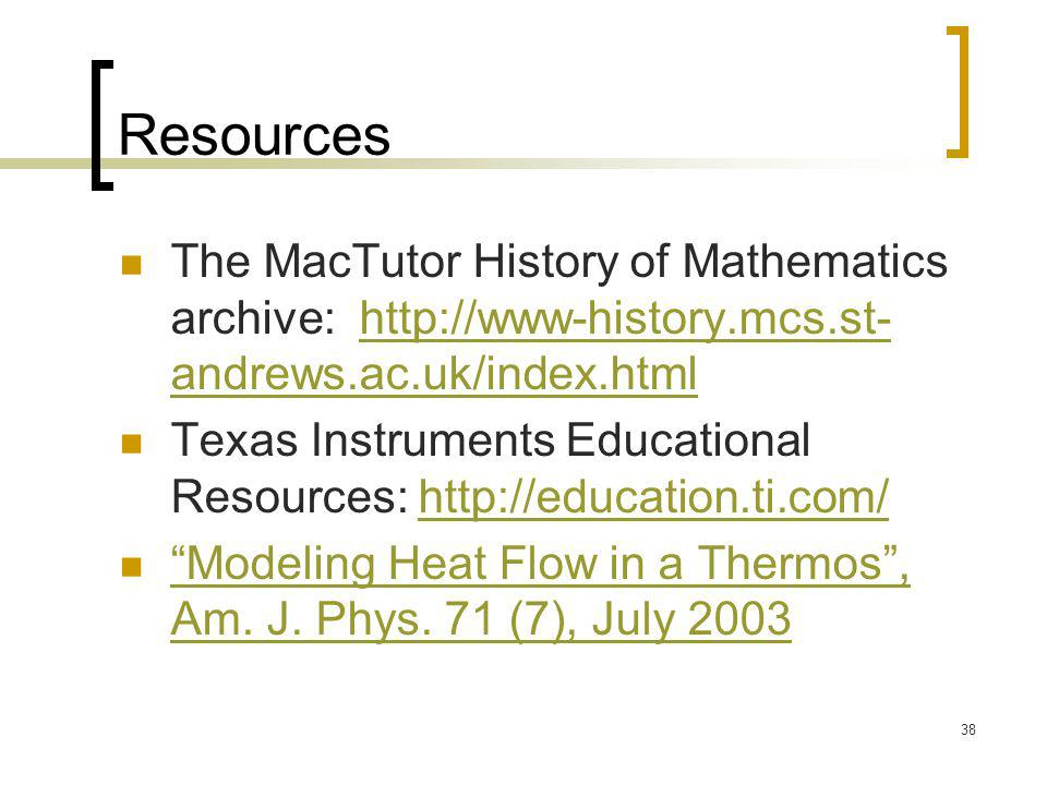 Resources The MacTutor History of Mathematics archive: http://www-history.mcs.st-andrews.ac.uk/index.html.