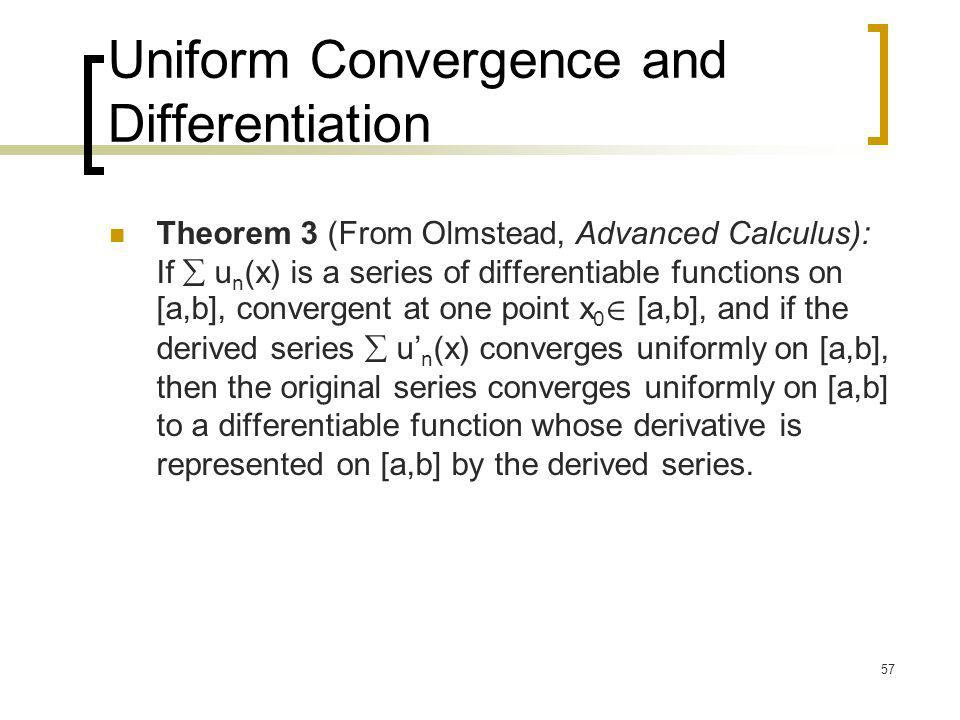 Uniform Convergence and Differentiation