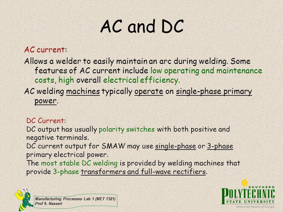 AC and DC AC current: