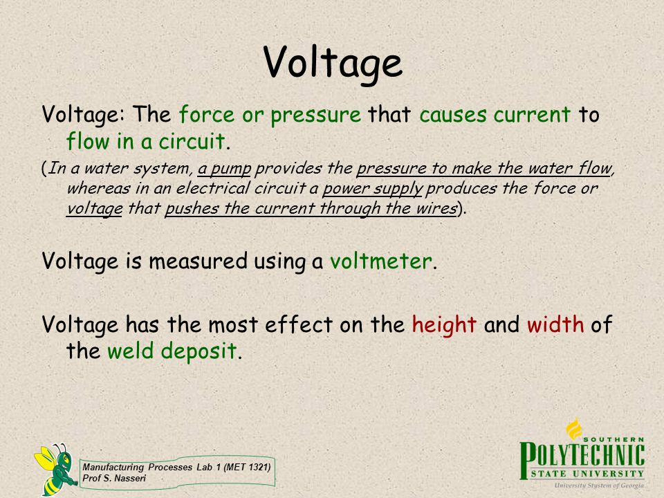 Voltage Voltage: The force or pressure that causes current to flow in a circuit.