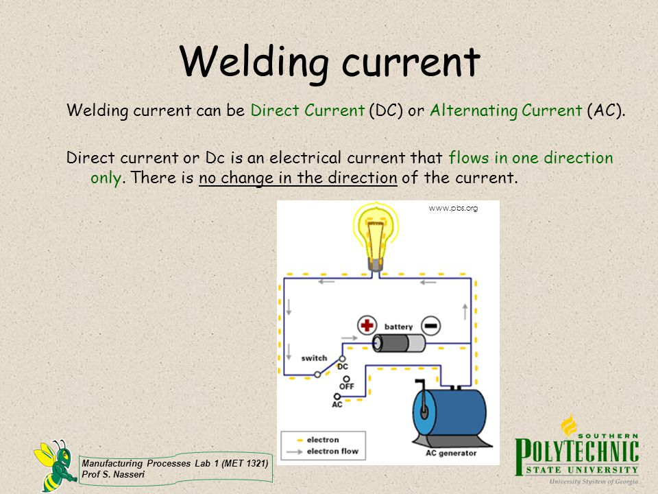 Welding current Welding current can be Direct Current (DC) or Alternating Current (AC).