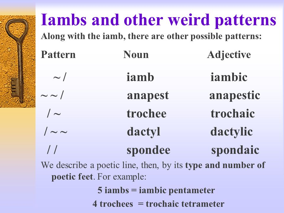 Iambs and other weird patterns