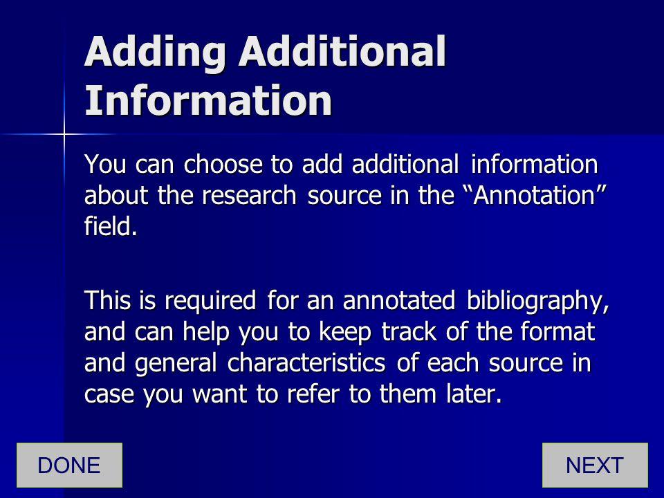 Adding Additional Information
