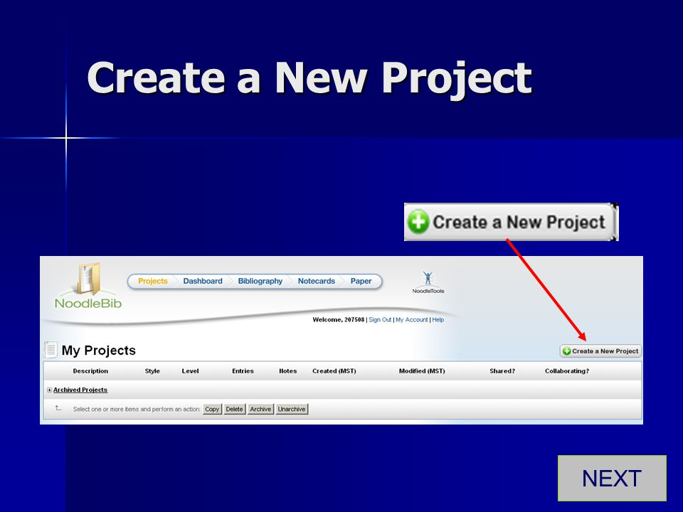 Create a New Project NEXT