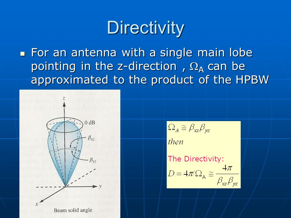 Dr. S. X-Pol Directivity. For an antenna with a single main lobe pointing in the z-direction , WA can be approximated to the product of the HPBW.