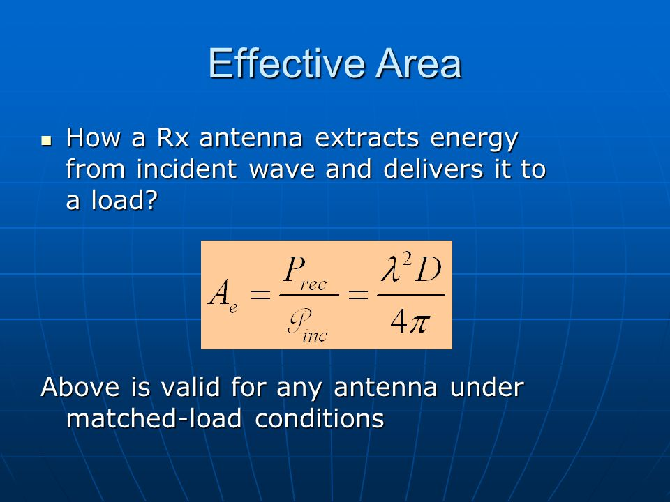 Dr. S. X-Pol Effective Area. How a Rx antenna extracts energy from incident wave and delivers it to a load