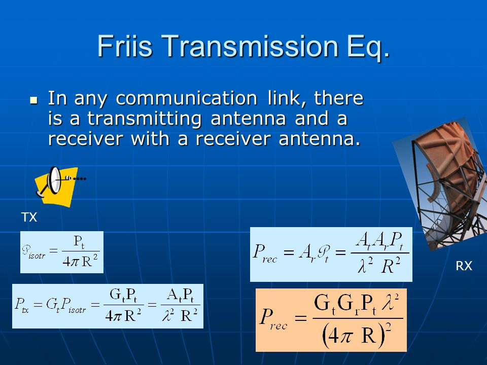 Dr. S. X-Pol Friis Transmission Eq. In any communication link, there is a transmitting antenna and a receiver with a receiver antenna.