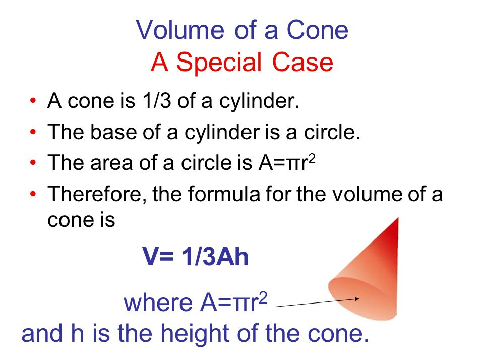Volume of a Cone A Special Case
