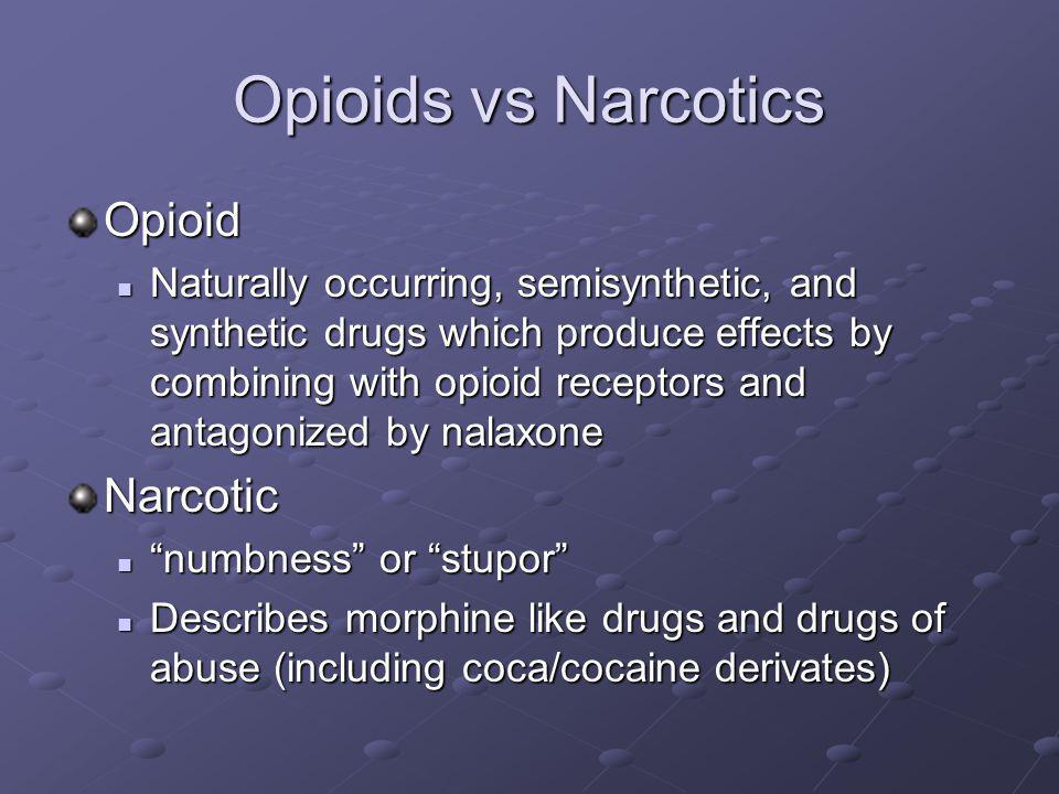 Opioids vs Narcotics Opioid Narcotic