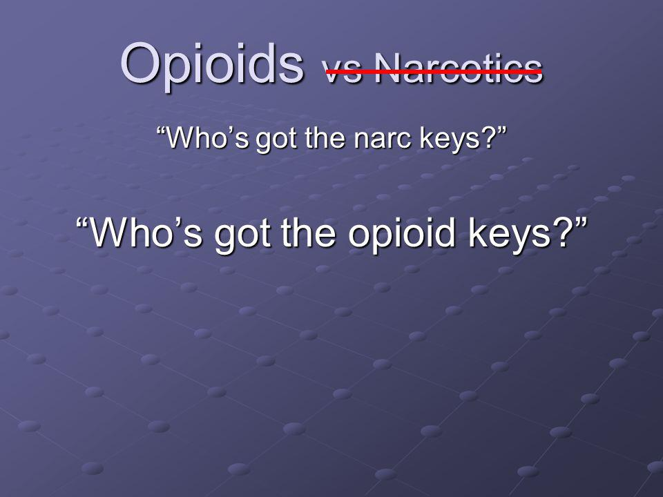 Opioids vs Narcotics Who's got the opioid keys