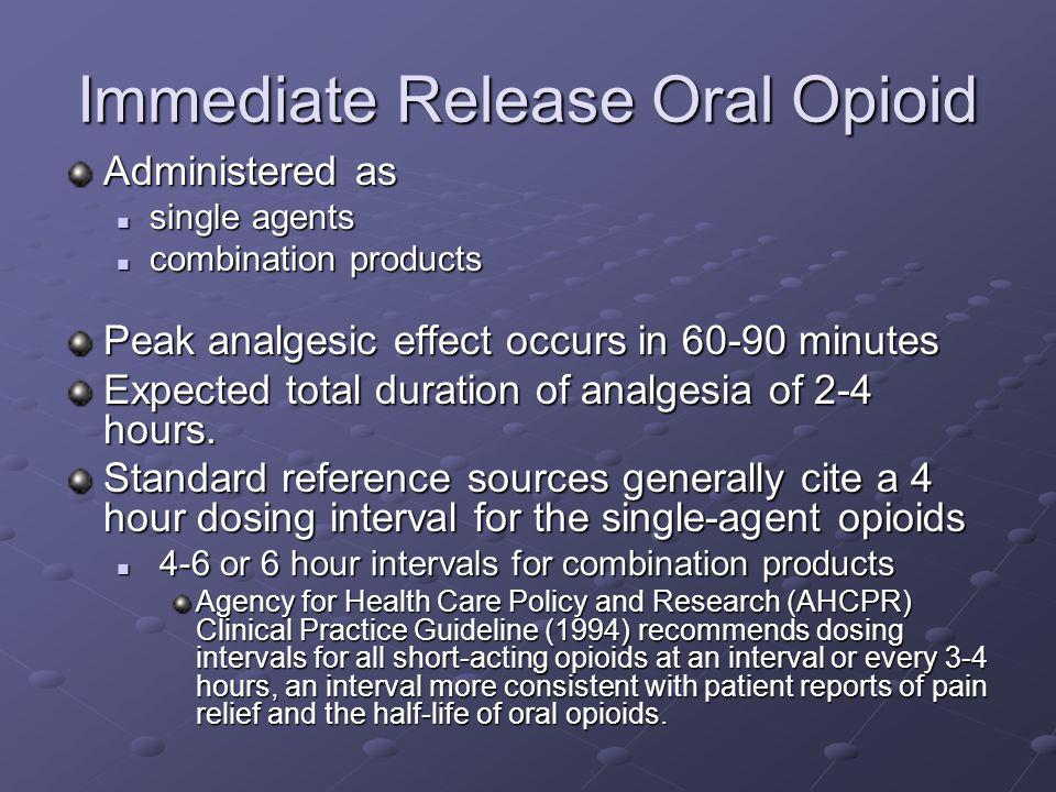 Immediate Release Oral Opioid