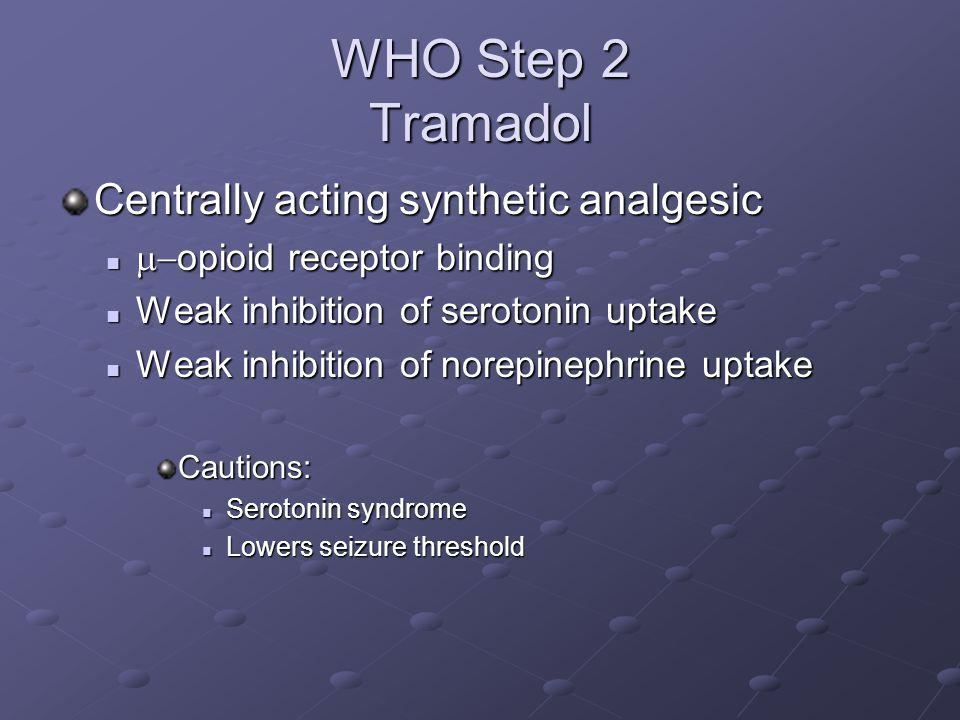 WHO Step 2 Tramadol Centrally acting synthetic analgesic