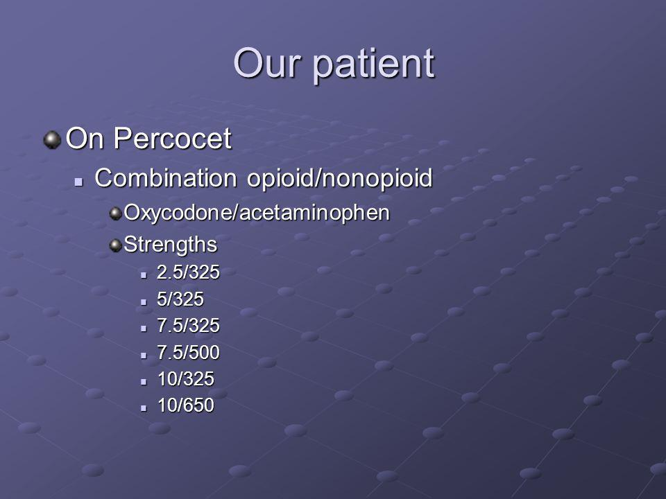 Our patient On Percocet Combination opioid/nonopioid