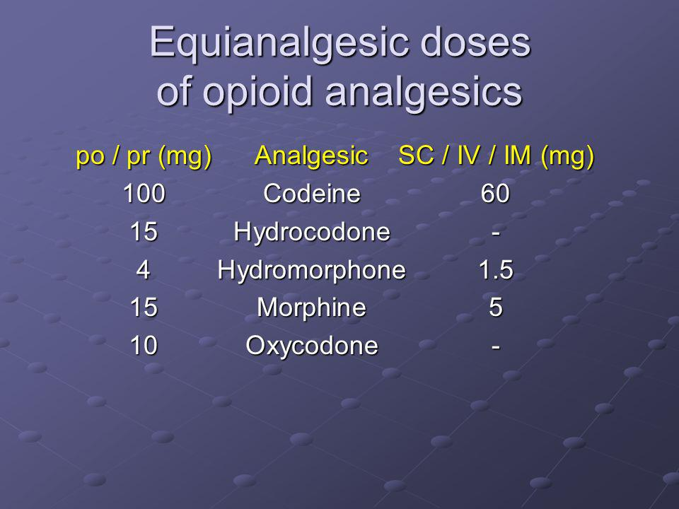 Equianalgesic doses of opioid analgesics